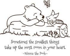Classic Pooh and Piglet Sometimes the smallest things child quote vinyl wall decal