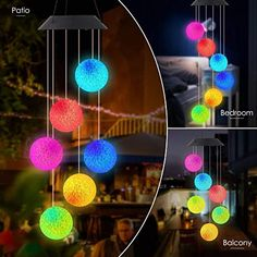 Eleven Direction Hummingbird Solar Wind Chimes,Gift for Mom//Grandmo,Colors Changing Solar Night Lights Garden Yard Lawn Patio Porch Window Outdoor Decorations