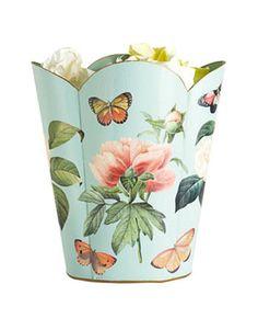 Floral 1 on aqua wastepaper basket, $112. marye-kelley.com.   - HouseBeautiful.com