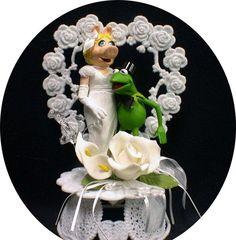 MISS PIGGY & KERMIT FROG Wedding Cake Topper Muppet top Heart Muppets pig funny