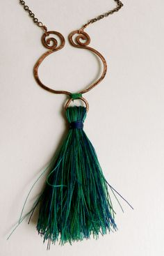 Necklace: copper and tassel, peacock colors