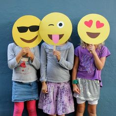 You can whip these up in no time. These emoji masks make the best Halloween costume or props for your Halloween party Photo Booth!