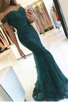 Charming Prom Dress,Dark Green Prom Dress,Long Prom Dresses,Formal Evening Dress,Beaded Prom Gown,Mermaid Prom Dresses,Elegant Evening Dress