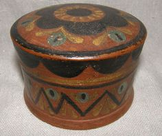 Norwegian Scandinavian hair receiver ,turned wood painted box, 19th C