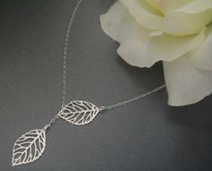 Leaf Lariat Necklace in STERLING SILVER CHAIN--Perfect Gift, Christmas Gift, gift for mom, Birthday Present for her, for friend. $20.00, via Etsy.