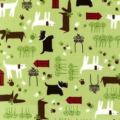 By the Yard Robert Kaufman WHISKERS & TAILS Lime ASW-10897-50 Dogs Fabric on Etsy, $11.00