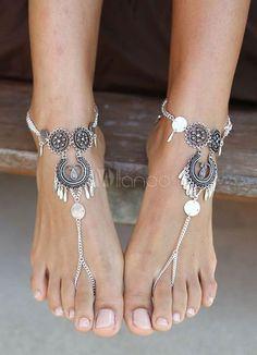 Praia casamento sapatos boêmio prata pulseira