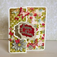 Carte Sizzix flip-it card with Tim Holtz flowers butterflies Flip Cards, Fancy Fold Cards, 3d Cards, Pop Up Cards, Folded Cards, Cool Cards, Homemade Birthday Cards, Happy Birthday Cards, Card Making Inspiration