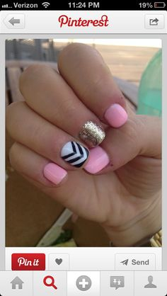 htese awesome cute pail pink gold black and white zig zags are the perfect way to strat your summer!:)
