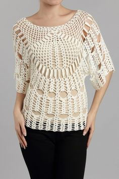 Modern Summer Knit Blouse Models And Samples - Kleidung Crochet Tunic, Freeform Crochet, Crochet Clothes, Crochet Lace, Crochet Tops, Crochet Woman, Love Crochet, Blouse Models, Summer Knitting