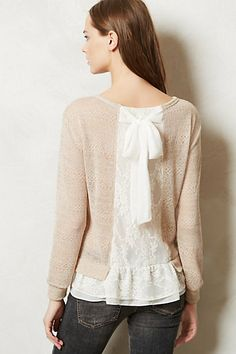 Love the lace detailing at the bottom and the back.  Valentina Sweater in Nude #Anthropologie
