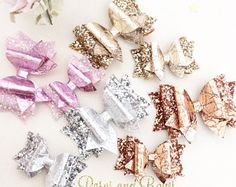 Crackle double bow headband - glitter headband- Glitter clip - Bow hair accessory - rose gold - silver - gold - baby pink