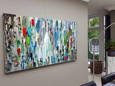 Taupe STUDIO 's Hertogenbosch: Medusa 180 x 100 x 4,5 cm, groot abstract schilderij met dikke verf in natuurtinten. Taupe, bruin, petrol, blauw, turquoise, groen, marine, wit.