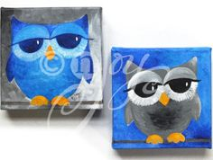 Blue and gray owl paintings