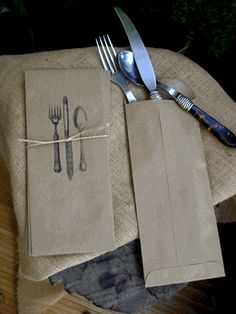 Really cute idea for a smaller garden party  ...Silverware Envelopes (pack of 10)