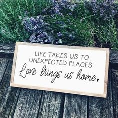 Love Brings Us Home Wood Sign Farmhouse Sign Rustic Home Decor Bedroom Sign love couples wedding housewarming gift by SimplySweetSignCo on Etsy - March 09 2019 at Bedroom Signs, Home Decor Bedroom, Diy Bedroom, Bedroom Furniture, Warm Bedroom, Master Bedrooms, Serene Bedroom, Budget Bedroom, Bedroom Rustic