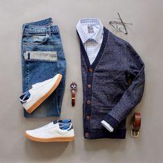 Cardigan, Selvedge Denim, Sneakers, Tattersall Shirt, Watch from @runnineverlong #menswear #mensfashion #mensstyle #fall #casual