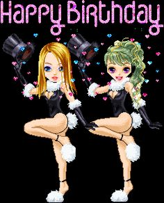 Happy Birthday Dance Animated | happy birthday dancing girls caberet animated gif animation photo ...