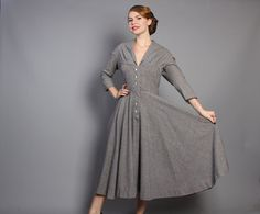 50s Mollie Parnis DRESS / Navy & White GINGHAM by LuckyDryGoods, $215.00