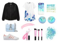 Pink and blue by christina-lavdal on Polyvore featuring polyvore, fashion, style, MANGO, adidas Originals, Valentino, Matthew Williamson, Casetify, Topshop, women's clothing, women's fashion, women, female, woman, misses and juniors