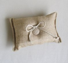 natural Burlap ring bearer pillow by pineconeshoppe on Etsy. $10.00 USD, via Etsy.