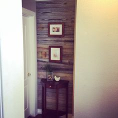 Fence board wood accent wall! Rustic and unique. Project took under 2 hours with removing nails, cutting the boards to size, and nailing to secure. Great, easy project! Fence Boards, Easy Projects, Tall Cabinet Storage, Rustic, Wood, Unique, Weddings, Furniture, Wedding Dresses
