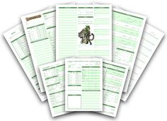 Character Sheets by Dyslexic Studeos. These are amazing.