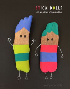 How to make stick dolls for hours of imaginative play and storytelling // MollyMooCrafts.com for Nestle 'Sprinkles of Imagination' campaign