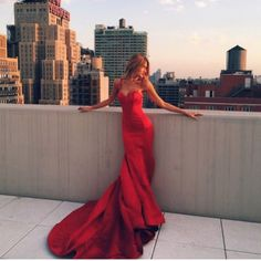 Elegant Red Evening Gown