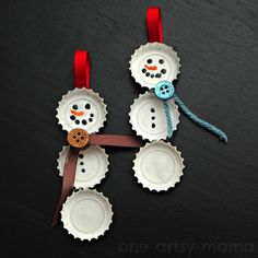 Mod Podge Rocks: Bottlecap snowmen