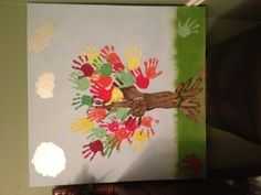 Pre-k art project. Teachers are clouds and trunk of tree.
