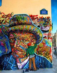 Van Gogh by Arnaud Rabier Nowart an outstanding illustrator, graffiti and street-art artist from Clichy, France. 3d Street Art, Urban Street Art, Murals Street Art, Best Street Art, Amazing Street Art, Street Art Graffiti, Street Artists, Amazing Art, Awesome
