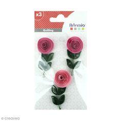 Stickers Quilling - Rose - Coloris Rose - 3 pcs