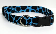 Teal Blue and Black Leopard Print Handmade Dog Collar on Etsy, $12.00
