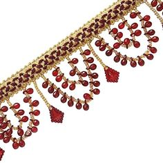 Red Beaded Curtain Fringe Upholstery Lace Ribbon Supplies...…