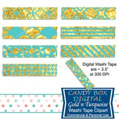 Gold and Turquoise Washi Tape Clipart by Candy Box Digital. Great Tiffany colored washi tape for digital scrapbooks, journals and to highlight your pictures on blogs or websites.
