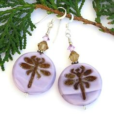 Handmade #Dragonfly #Earrings Purple Czech Glass Crystal Artisan Jewelry @ShadowDog #ShadowDogDesigns