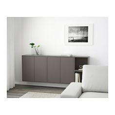 IKEA - EKET, Kastencombinatie voor wandmontage, donkergrijs, , Toon of verberg je bezittingen naar wens door open en dichte opbergers te combineren.De deuren hebben een geïntegreerde druk-en-openfunctie zodat je ze met slechts een lichte druk openmaakt.