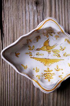 白釉花鳥菱形皿