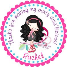 Glam Chic Diva Girl 2 Personalized Stickers  Party by partyINK, $6.00