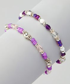 Another great find on #zulily! Purple Bead Bracelet - Set of Two #zulilyfinds