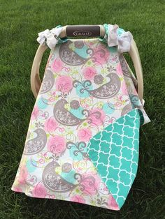 MOD Baby Carseat Cover  Gray Pink and Teal Bird by kitcarsonblue