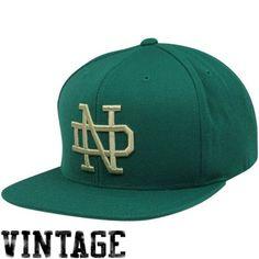 37fcb136f77 Mitchell   Ness Notre Dame Fighting Irish Vintage Basic Logo Snapback  Adjustable Hat - Green