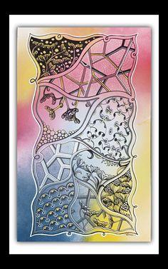 """Je continue à expérimenter les grands formats et l'acrylique (bombe et marqueurs) - Tangles Seven Flowers, Windfarm et Chorus (variations """"maison"""") Zentangle, Office Supplies, Notebook, Club, Doodle, Board, Markers, Home, Zentangle Patterns"""