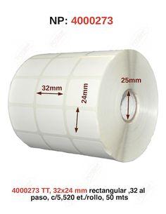 4000273, transferecia termica,  , 32x24mm, rectangular, 3 al paso, c/5,520, etiquetas /rollo, 50 mts., posline