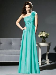 A-line One Shoulder Floor Length Chiffon Bridesmaid Dress BD10269  ----2013 Prom Dresses,Prom Dresses 2013,Prom Dresses,Prom Dresses UK,Prom Dresses 2013 UK,2013 Prom Dresses UK