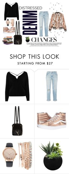 """Distressed Denim"" by hey-anis ❤ liked on Polyvore featuring River Island, Current/Elliott, Alima, Chloé, Vans, Jessica Carlyle, Anna Sui and Sans Souci"