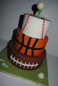Sports Themed Birthday Cake - pinner said: This is a copy of a picture I was given from the internet (I'm sorry but I'm not sure who first created it). All fondant, golf ball is a white chocolate rum truffle (I used a golf ball chocolate mold). Sports Themed Cakes, Sports Theme Birthday, New Birthday Cake, Themed Birthday Cakes, 6th Birthday Parties, Birthday Ideas, Basketball Birthday, Birthday Desserts, Themed Cupcakes
