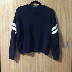 Navy and White Striped Varsity Veena Sweater Brandy Melville. Worn once Brandy Melville Sweaters Crew & Scoop Necks
