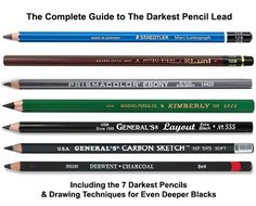 Complete-Guide-to-The-Darkest-Pencil-Lead Wooden Pencils, Led Pencils, Compressed Charcoal, Charcoal Sticks, Pencil Writing, Mechanical Pencils, Black Pencil, Drawing Techniques, Prismacolor